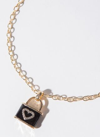 Lock Of Love Jeweled Charm Necklace