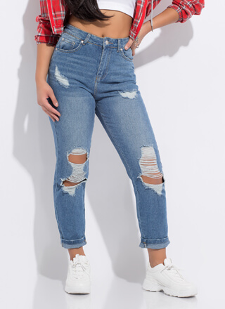 New Classic Destroyed Denim Mom Jeans