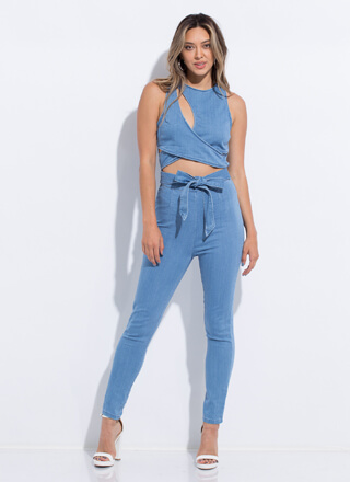 The Only One Tied Cut-Out Denim Jumpsuit