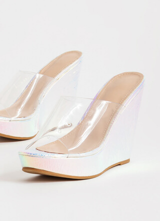 Higher Calling Clear Mule Wedges
