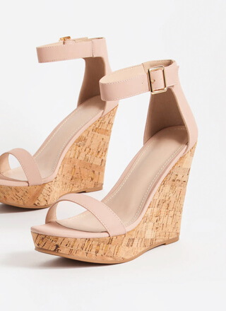Perfect Vacation Ankle Strap Cork Wedges