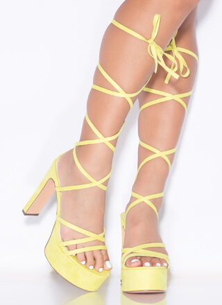 All Straps Chunky Lace-Up Platform Heels