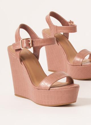 Scale The Heights Faux Crocodile Wedges