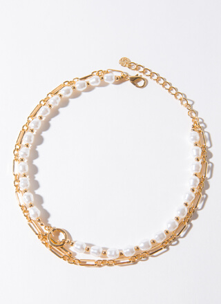 Chains Of Pearls Layered Choker Necklace