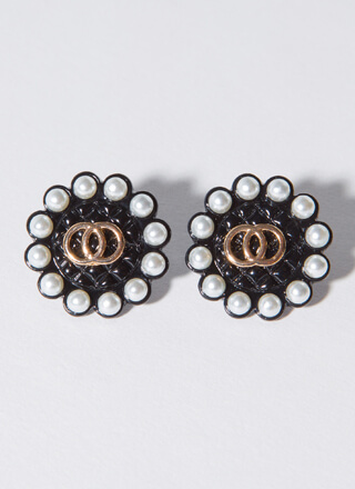 Ring Ring Quilted Pearl Trim Earrings