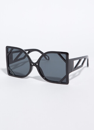 New Frames Oversized Cut-Out Sunglasses