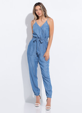 Chambray Chic Tied Jogger Jumpsuit