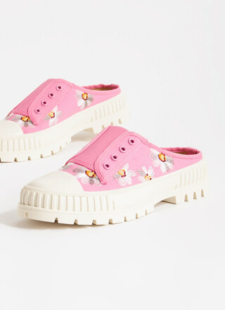 Embroidered Flowers Slip-On Sneakers