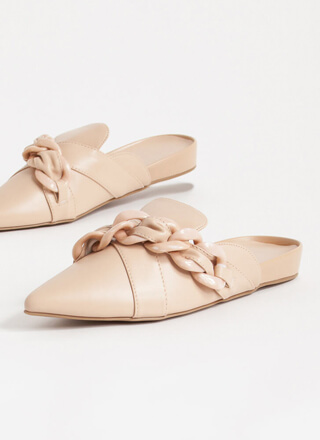 Link It Over Chain Strap Mule Flats