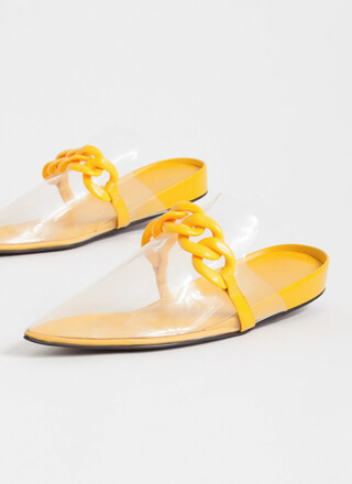 Cool Illusion Pointy Chained Mule Flats