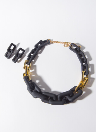 Matte Mix Chunky Chain Link Necklace Set