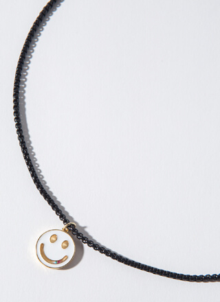 Big Smile Bead Chain Happy Face Necklace