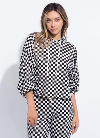 Finish Line Checkered Hoodie Top