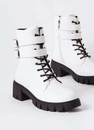 Strapping Rugged Block Heel Combat Boots