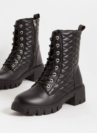 New Dimensions Quilted Combat Boots
