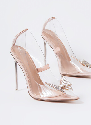 Crystal Clear Jeweled Bow Pointy Pumps