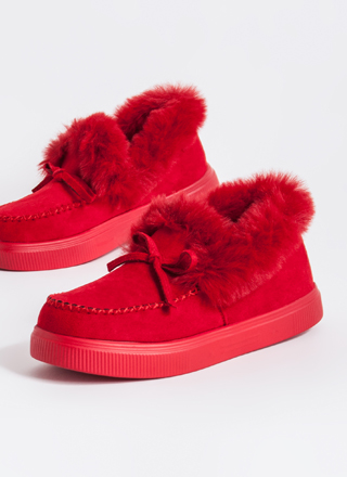 Bow Out In The Cold Furry Trim Moccasins