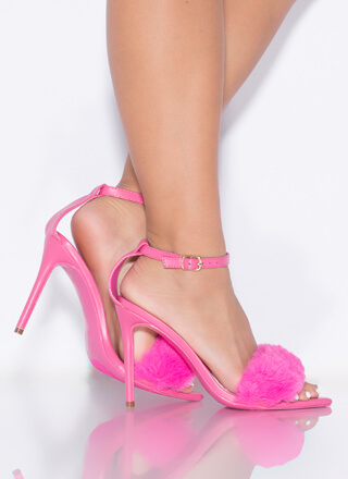 Fur One And All Ankle Strap Heels