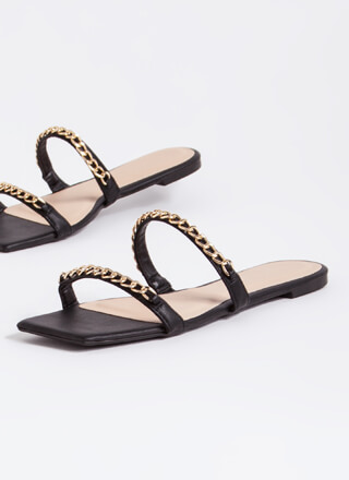Resort Faux Leather Chain Strap Sandals