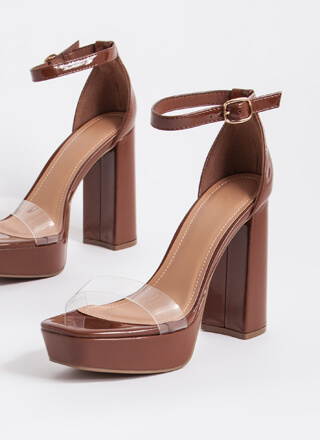 Are We Clear Chunky Faux Patent Heels