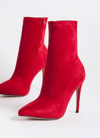 Point The Way Faux Suede Sock Booties
