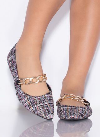 Chain Reaction Pointy Tweed Flats