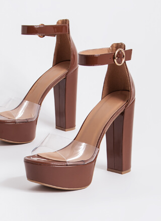 Keep Clear Chunky Faux Patent Platforms