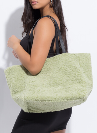 Carry Me Oversized Faux Shearling Bag