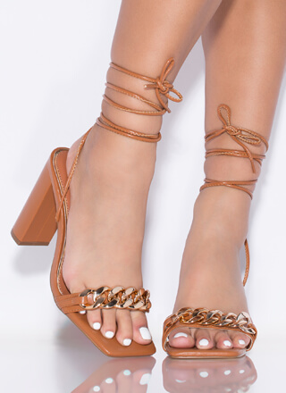 Save The Link Chain Strap Lace-Up Heels
