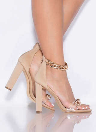 Let's Link Up Chunky Chain Strap Heels