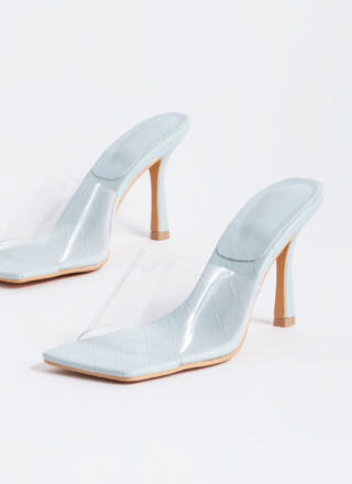 Weave A Story Clear Illusion Mule Heels