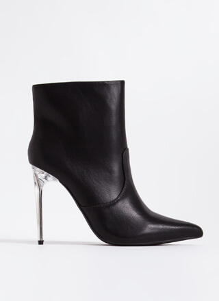 Like A Dagger Lucite Stiletto Booties