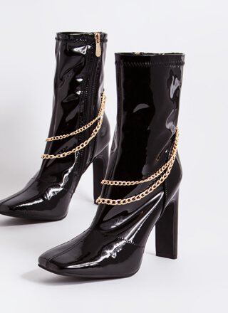Accessorize Chained Faux Patent Booties