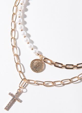 Cross Between Pearl And Chain Necklace