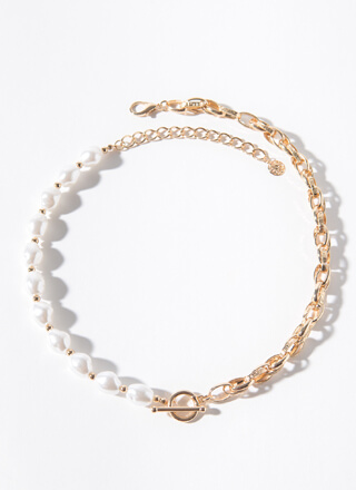 Halve You Ever Pearl And Chain Necklace