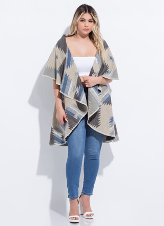 Wanderer Two-Way Tapestry Pattern Poncho