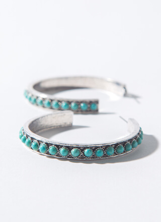 Turquoise Lover Stone-Encrusted Hoops