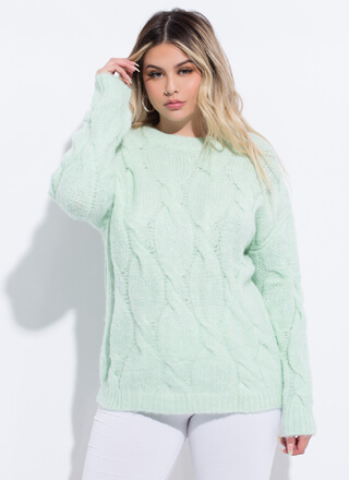 Cold Weather Lover Cable Knit Sweater