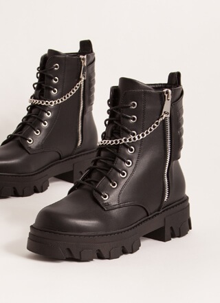 Zippers And Chains Moto Combat Boots