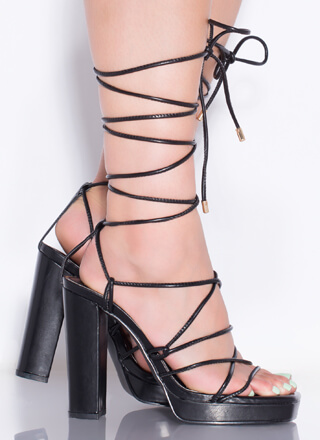 String Me Along Chunky Lace-Up Heels