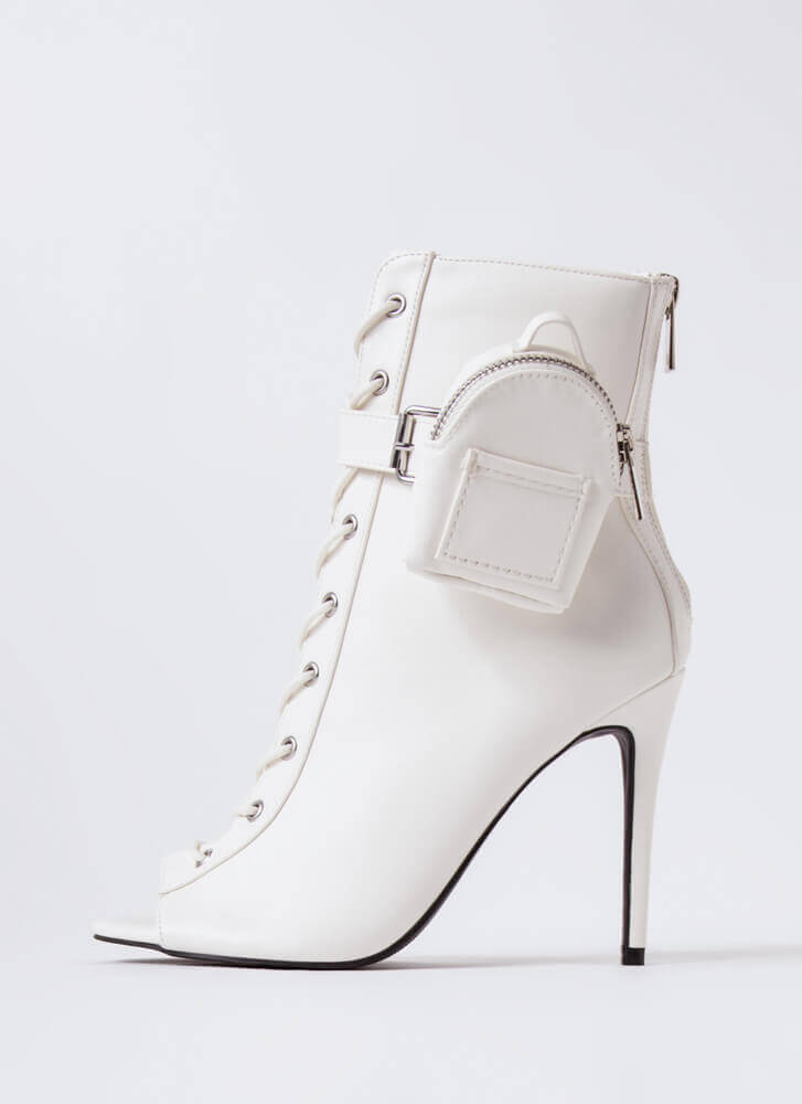 Pack Light Lace-Up Peep-Toe Booties