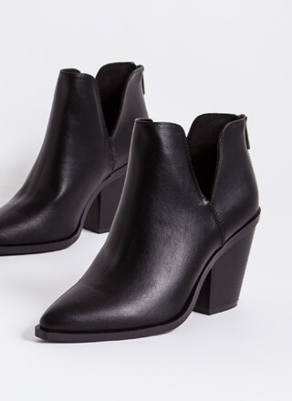 Top Notch Chunky Faux Leather Booties