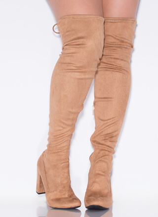 Classic Chunky Tie-Back Thigh-High Boots