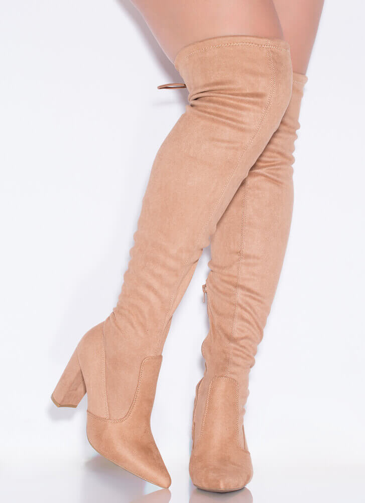 I Need Chunky Tie-Back Thigh-High Boots
