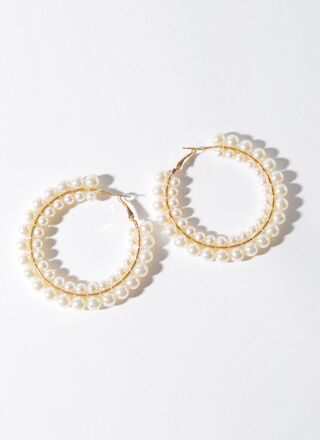 Doubled Over Stacked Faux Pearl Hoops