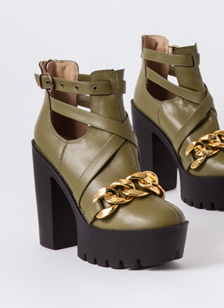 Stunner Strappy Chained Platform Booties