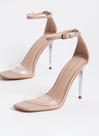 Stand Clear Vegan Leather Lucite Heels