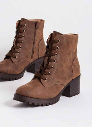 Lace Up Faux Leather Block Heel Booties