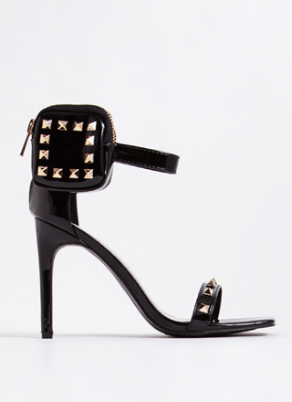 Hey Stud Faux Patent Pouch Accent Heels