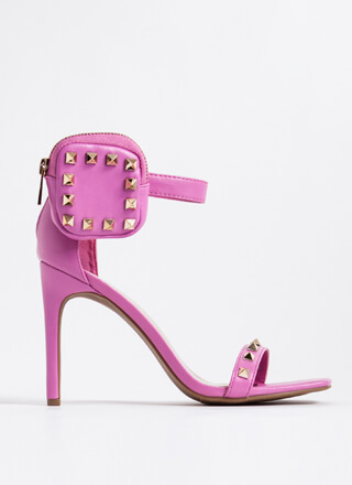 Hey Stud Faux Leather Pouch Accent Heels